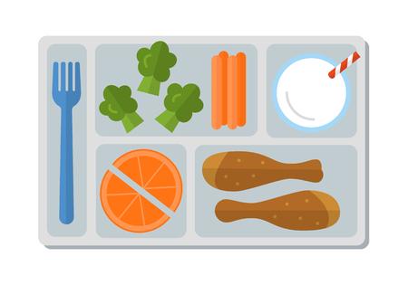 Schulessen mit Hähnchenkeule, Gemüse, Orangenscheiben und einem Glas Milch. Flacher Stil. Vektor-illustration
