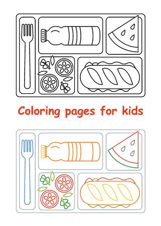 Dibujos Para Colorear Para Niños. Bandeja Del Almuerzo. Estilo De ...