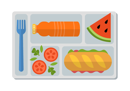 School lunch with ham sandwich from fresh baguette, vegetable salad, slice of watermelon and bottle of orange juice. Flat style. Vector illustration. Иллюстрация