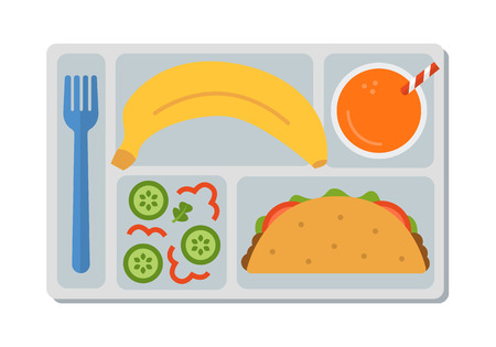 School lunch with tacos, vegetable salad, banana and a glass of orange juice. Flat style. Vector illustration. Ilustração
