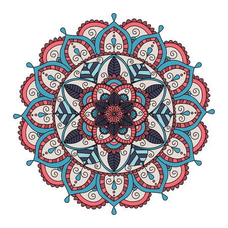 Ornament color card with floral mandala ethnic decorative elements. Illustration