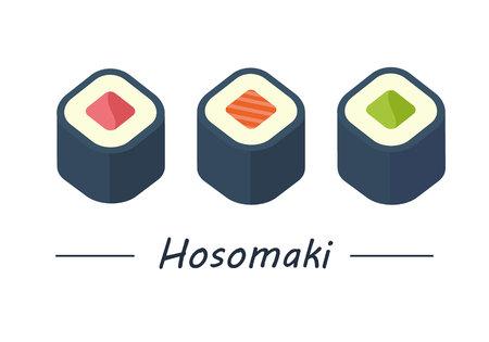 Hosomaki with tuna, salmon and cucumber. Sushi rolls set icons. Vector illustration. Flat style.