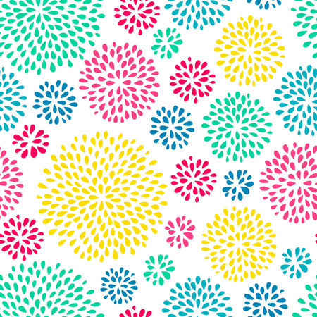 Abstract splash drops seamless pattern with bright colors. Holi festival background.  Doodle style. Vector illustration. Illustration