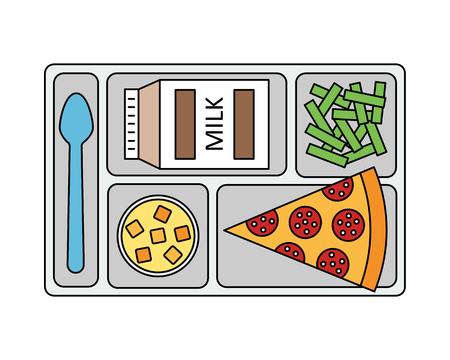 lunch tray: Lunch on a tray: pepperoni pizza, chocolate milk, green beans and fruit jelly.  Line style. Vector illustration. Illustration