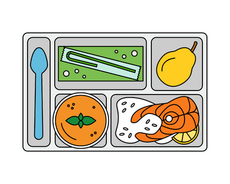 lunch tray: Lunch on a tray: vegetable soup, fish steak with rice,pear and apple juice in a box. Line style. Vector illustration.