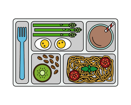 Lunch on a tray: pasta, asparagus, boiled egg, kiwi, almonds and a glass of chocolate milk. Line style. Vector illustration. Illustration