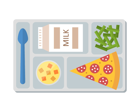 lunch tray: Lunch on a tray: pepperoni pizza, chocolate milk, green beans and fruit jelly. Flat design. Vector illustration.