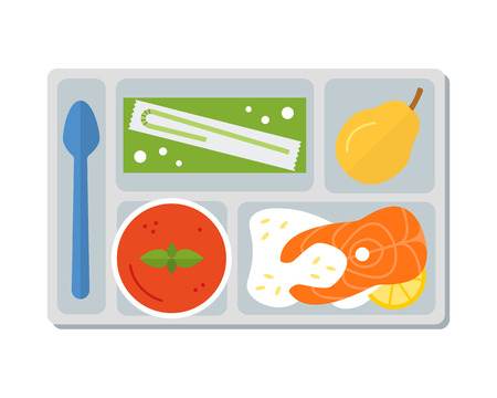 lunch tray: Lunch on a tray: vegetable soup, fish steak with rice,pear and apple juice in a box. Flat design. Vector illustration.