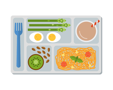 Lunch on a tray: pasta, asparagus, boiled egg, kiwi, almonds and a glass of chocolate milk. Flat design. Vector illustration.