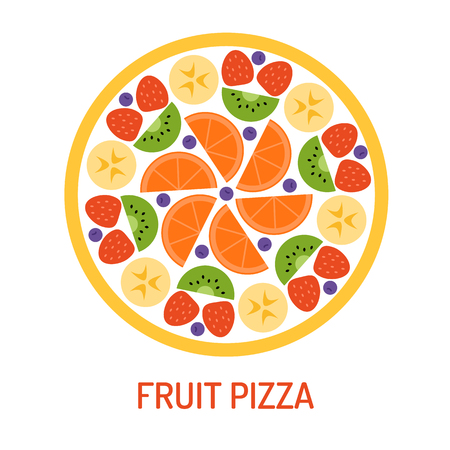 Fruit pizza isolated on white background. Summer party concept. Vector illustration. Flat design.