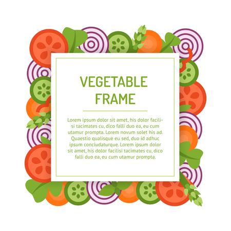 Vierkant plantaardig frame. Geassorteerde gesneden groenten voor salade. Vector sjabloon. Vlakke stijl. Stock Illustratie
