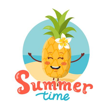 Cute pineapple cartoon vector illustration. Summer time hand lettering.