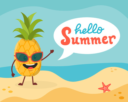Funny vector illustration with pineapple in glasses on the beach, speech bubble and hand written text Hello summer .