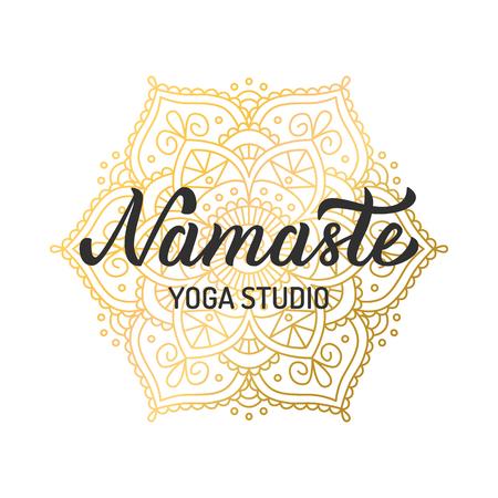 Hand lettering logo for yoga studio. Gilding mandala elements. Vector illustration.