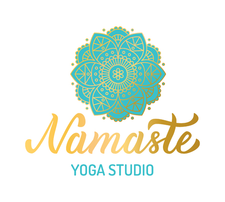 Hand lettering gilding logo for yoga studio. Mandala with turquoise elements. Vector illustration. Ilustrace