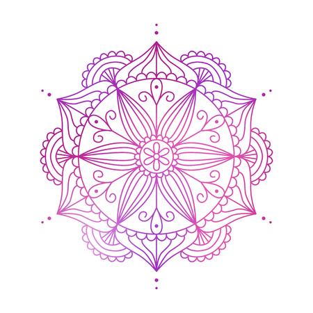 カラフルなマンダラです。美しい抽象的な背景。行ベクトル イラスト。タトゥーの要素。招待状の装飾的な要素は、t シャツ印刷、結婚式のカード