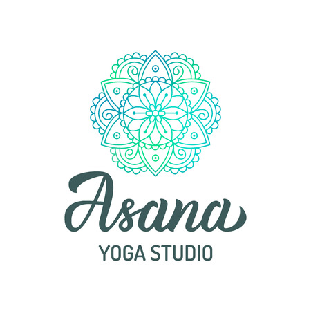 Hand lettering logo with colorful mandala for yoga studio isolated on white background