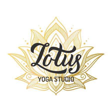 Hand lettering logo for yoga studio. Gilding lotus flower. Vector illustration. Stock Photo