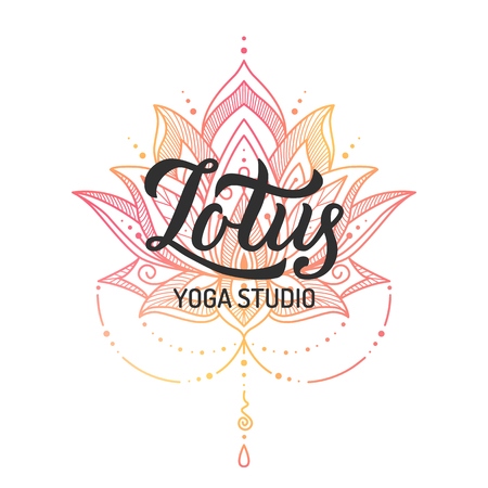 Hand lettering logo with colorful lotus for yoga studio. Isolated on white background. Vector illustration.