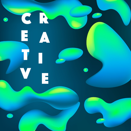 Creative abstract background with fluid shapes and bright gradient colors. Vector illustration. Motion design. Illustration
