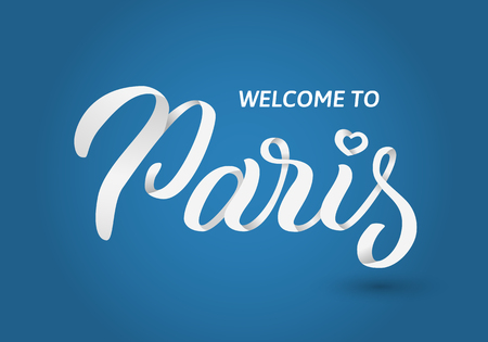 Welcome to Paris hand lettering banner on blue background greetings for t-shirt, mug, card, and tag drawn art sign vector illustration.