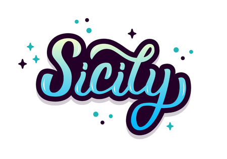 Sicily trendy hand lettering with bright colors design 일러스트