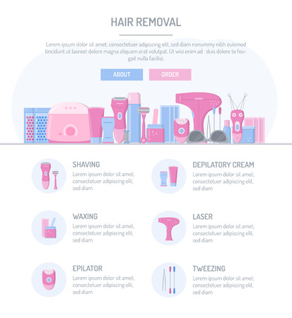 One page web design template. Hair removal. Flat design. Website elements layout. Vector illustration.