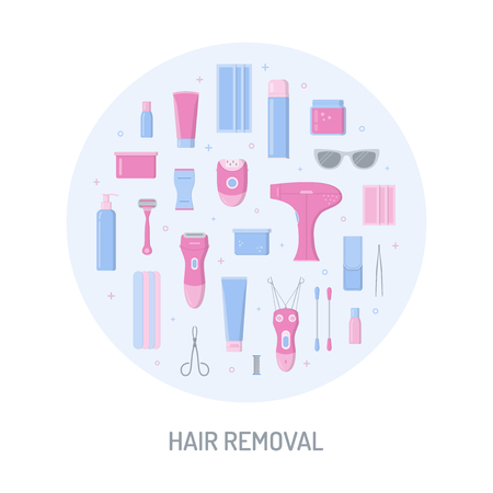 Hair removal circle concept. For your design. Devices for epilation and depilation. Flat style. Vector illustration. Illustration