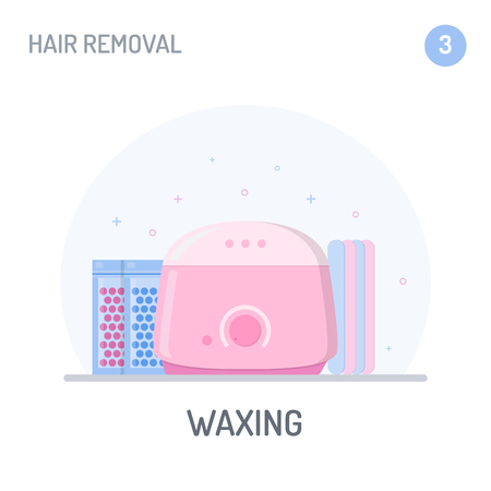Hair removal: Waxing. Hot wax warmer, packets with hard wax beans and sticks. Flat style. Vector illustration. Stock Illustratie