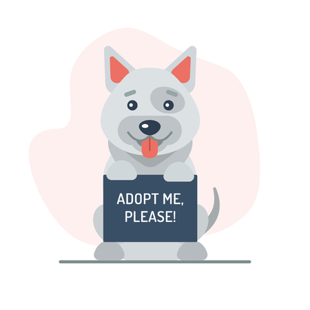 A cute dog holding up a sign with the words Adopt Me, please. Flat design. Vector illustration.