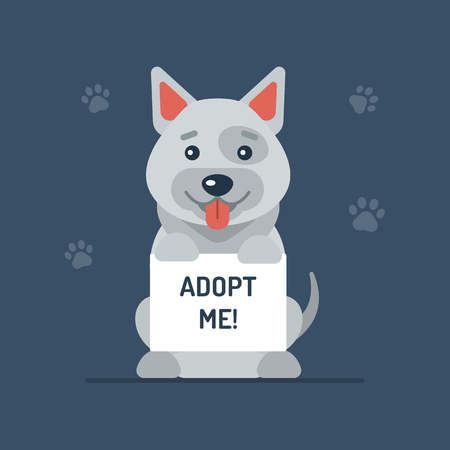 A cute dog holding up a board with the words Adopt Me. Flat design. Vector illustration.