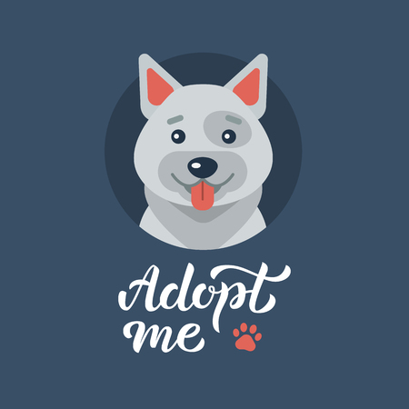 Cute gray dog and hand lettering Adopt me! Flat design. Vector illustration. Illustration