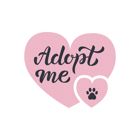 Adopt me - hand lettering with two pink hearts and paw print. Isolated on white background. Vector illustration. Illusztráció