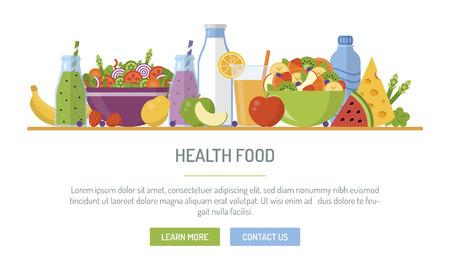 Banner web design piatto. Cibo sano. Illustrazione vettoriale per web design, marketing, graphic design. Vettoriali