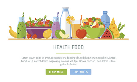 Flat design web banner. Health food. Vector illustration for web design, marketing, graphic design. Ilustração