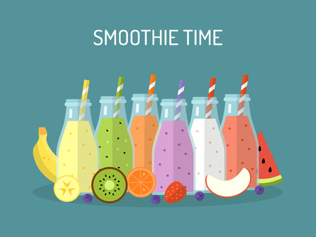 Smoothie time. Smoothies or milkshakes in jars with ingredients isolated. Illustration for your design. Vector illustration in flat design. 向量圖像