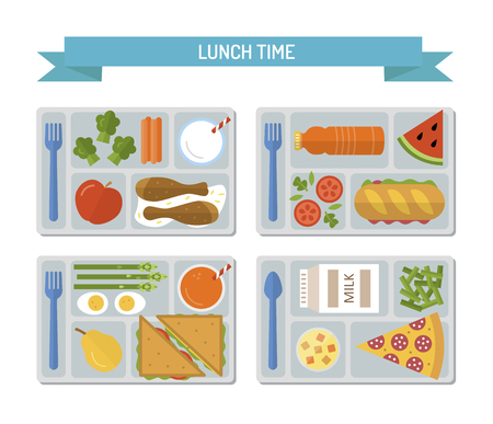 Set lunches on a tray. Healthy food. Business or school lunch. Flat style. Vector illustration.