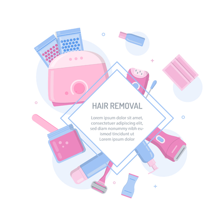 Tools and cosmetics for hair removal. Template for your design with text area. Flat style banner. Ilustración de vector