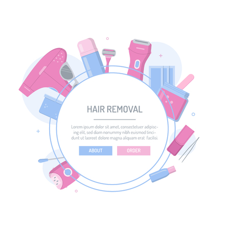 Tools and cosmetics for hair removal. Template for your design with text area. Flat style banner. Archivio Fotografico - 104560583