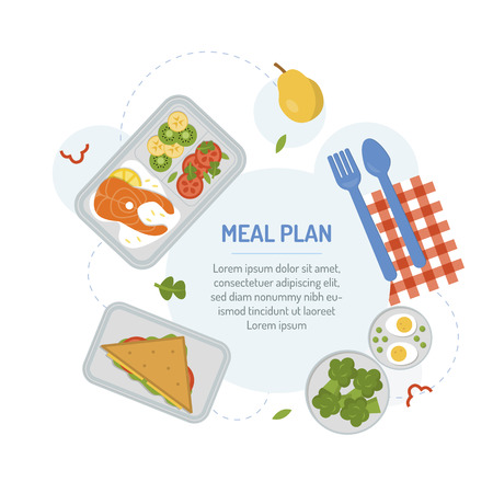 Packaging of meals in advance to support a healthy lifestyle. Meal planning menu for the day. The food in the containers. Flat design.