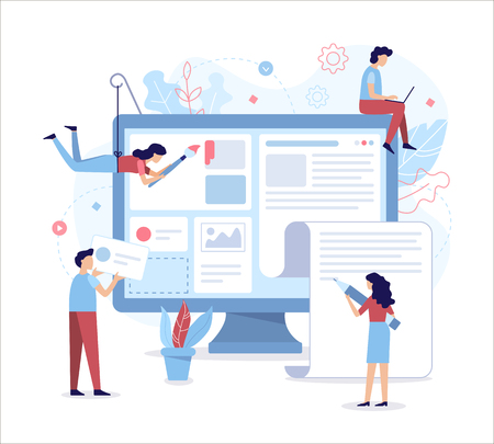 A team of web developers designs a news portal or information website. Flat vector illustration.