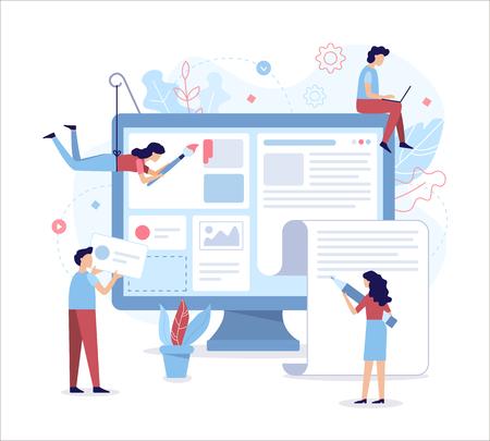 Une équipe de développeurs Web conçoit un portail d'actualités ou un site Web d'information. Illustration vectorielle plane.