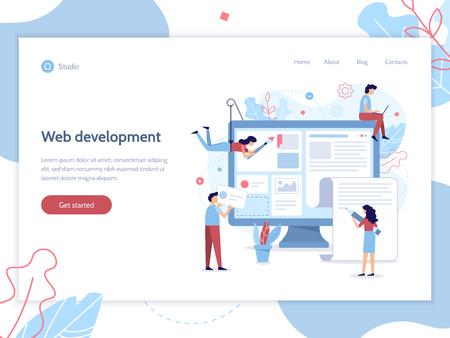 Modern web banner. A team of web developers designs a news portal or information website. Website development. Flat vector illustration.