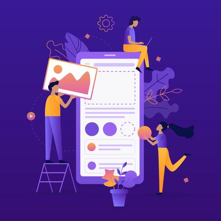 Il team di sviluppatori costruisce l'app mobile. Progettazione dell'interfaccia utente/UX. Illustrazione vettoriale piatto.