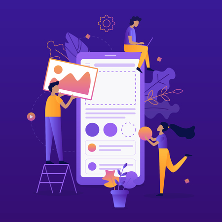 Team of developers construct mobile app. UI/UX design. Flat vector illustration. Çizim