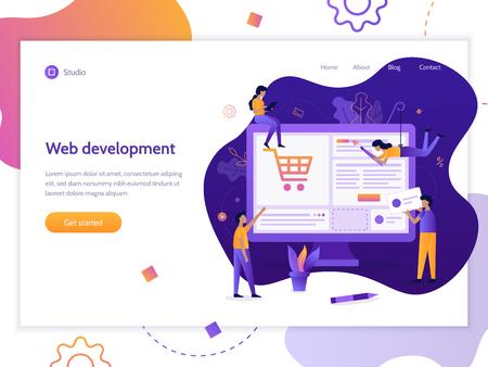 Web banner design template. A team of web developers design an online store. E-commerce project. Website development. Flat vector illustration.