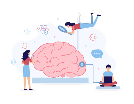 A team of specialists helps with brain problems. Mental health concept. Flat vector illustration.