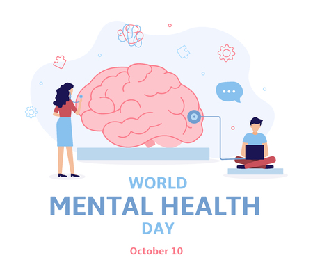 Banner for World mental health day. A team of specialists diagnose the brain. Flat vector illustration. Illustration