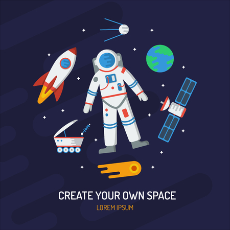 Space card. Create your own space. Astronomy round concept with astronaut, the Earth, comet, satellite, rocket, etc. Illustration