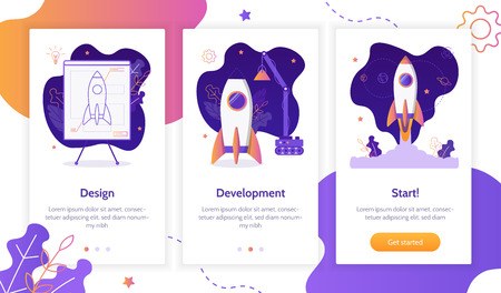 Project development. Building rocket from design to launch. Onboarding screens template. Mobile app design. Business concept. Flat vector illustration. Illustration